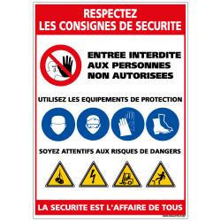 Panneau Respectez les consignes de sécurité (A0365)