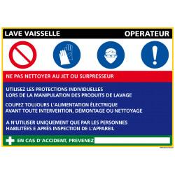 Panneau Fiche de Poste Lave Vaisselle (C1086)