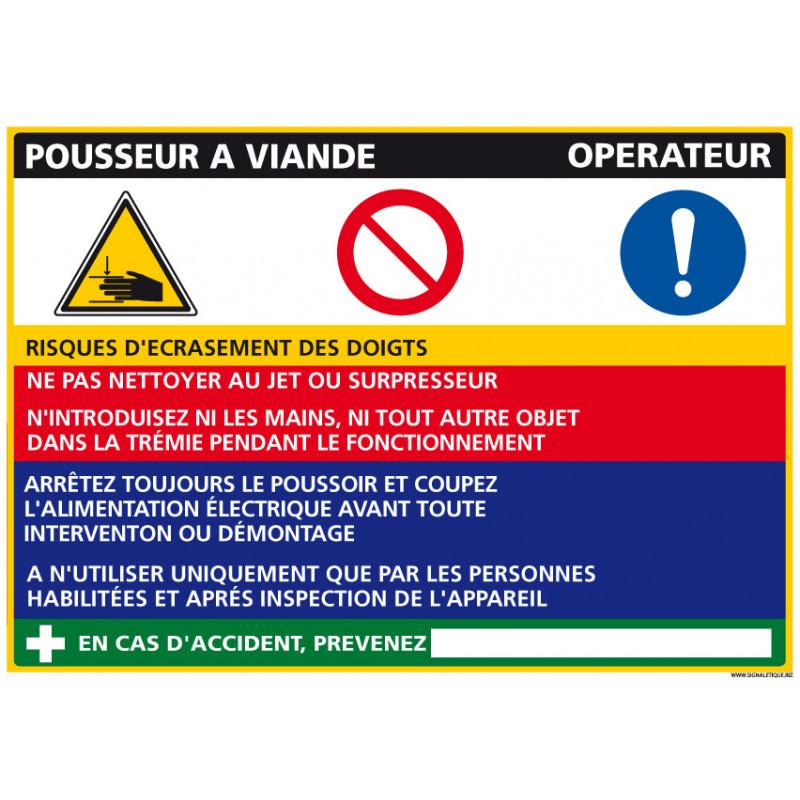 Panneau Fiche de Poste Pousseur Viande (C1090)