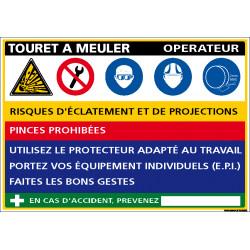 Panneau Fiche de poste Touret Meuler (C1129)