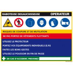 Panneau Fiche de Poste Raboteuse Dégauchisseuse (C1130)