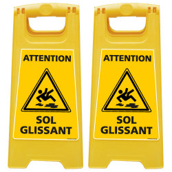 LOT DE 2 CHEVALETS DE SIGNALISATION ATTENTION SOL GLISSANT (WPSG680I-X2)