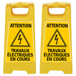 LOT DE 2 CHEVALET DE SIGNALISATION - ATTENTION TRAVAUX ELECTRIQUES EN COURS (WPSG710-X2)
