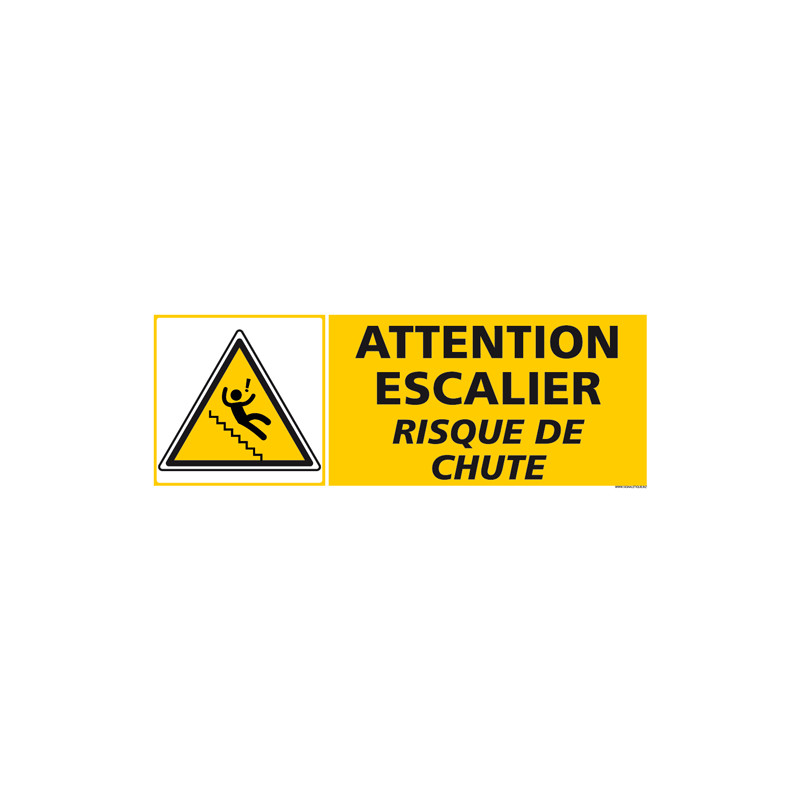 PANNEAU ATTENTION ESCALIER RISQUE DE CHUTE (C1269)