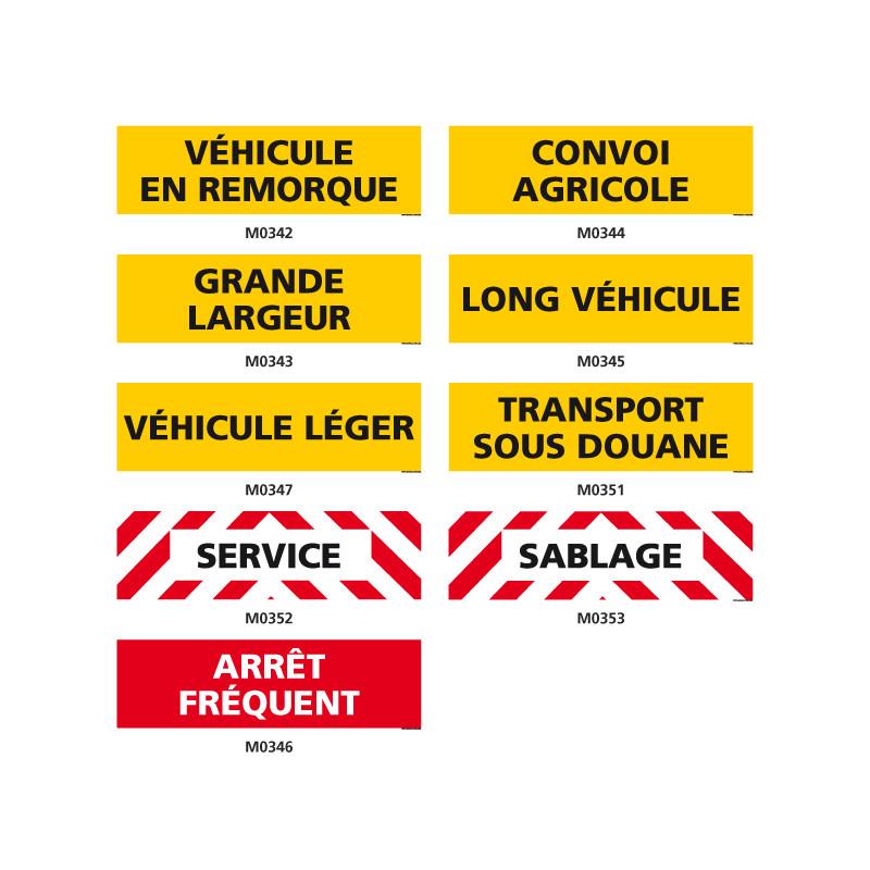 Plaques pour véhicules