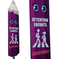 """Panneau """"Attention enfants, Ralentissez"""" - en forme de crayon (WECOCRA)"""
