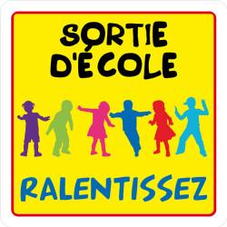 PANNEAU DE SIGNALISATION SORTIE D'ECOLE, RALENTISSEZ (L0626)