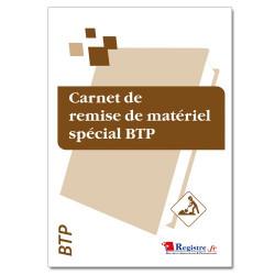 Carnet de remise de matériel spécial BTP (RM005)