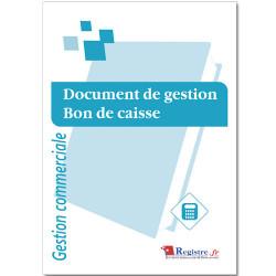 REGISTRE DOCUMENT DE GESTION - BON DE CAISSE (RM009)