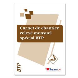 Carnet de chantier relevé mensuel spécial BTP (RM013)