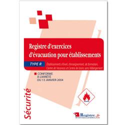 REGISTRE DE SECURITE - EXERCICES D'EVACUATION (RP008)