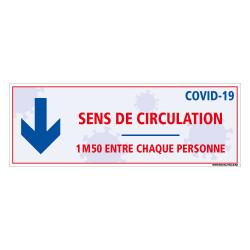 AUTOCOLLANT AU SOL GOUVERNEMENTALE SPECIAL COVID19 - SENS DE CIRCULATION - DISTANCES ENTRE CHAQUE PERSONNE - PREVENTION DISTANCE