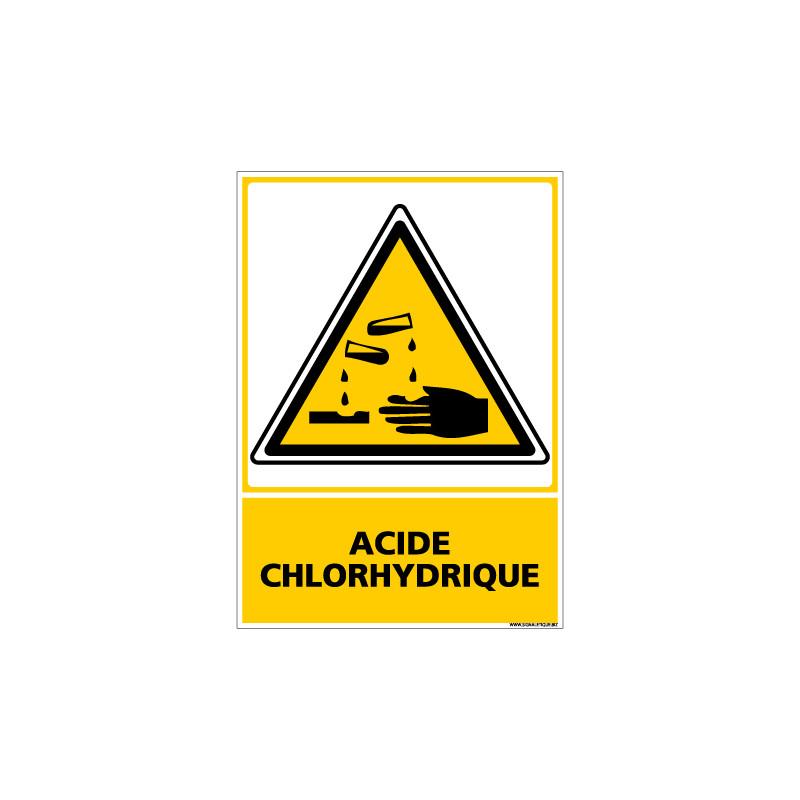 Panneau de Signalisation Danger ACIDE CHLORHYDRIQUE (C0502)