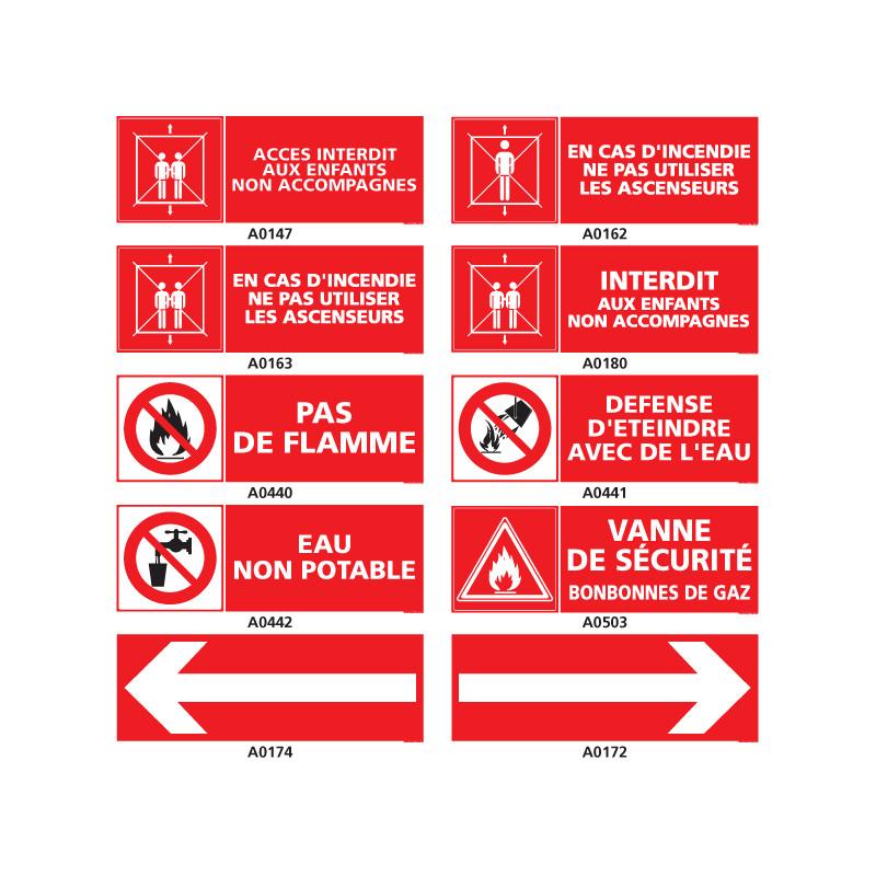 Panneau de recommandation en cas d'incendie