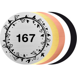 Plaque gravée ronde pour boîte aux lettre - N° de porte design personnalisable (BAL0020)