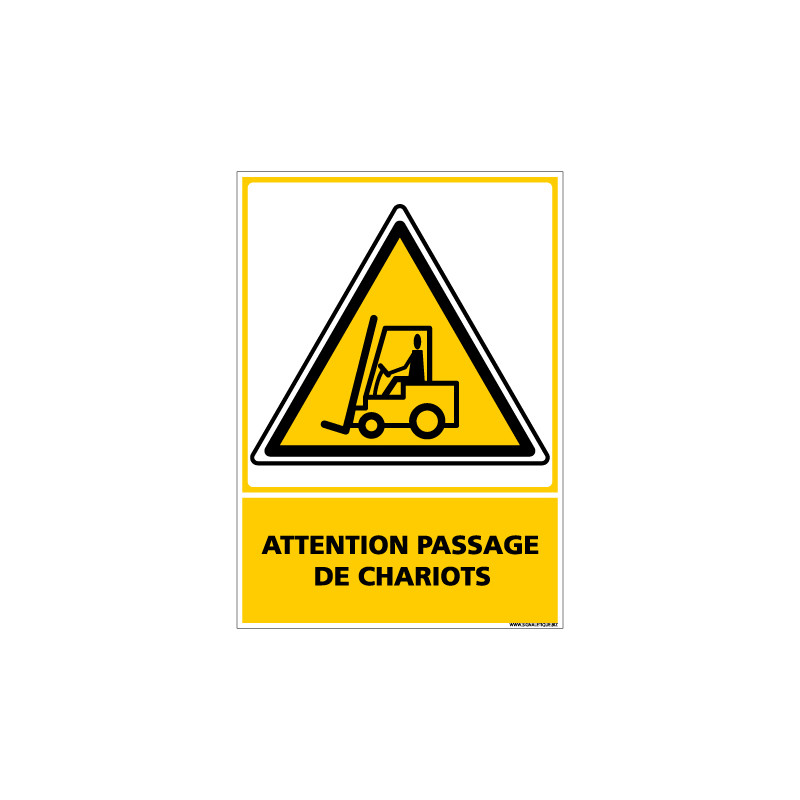 Panneau ATTENTION PASSAGE DE CHARIOTS (C0534)