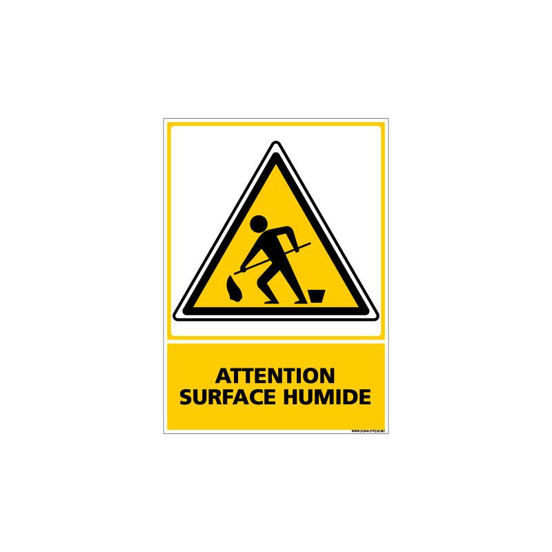 Panneau ATTENTION SURFACE HUMIDE (C0554)