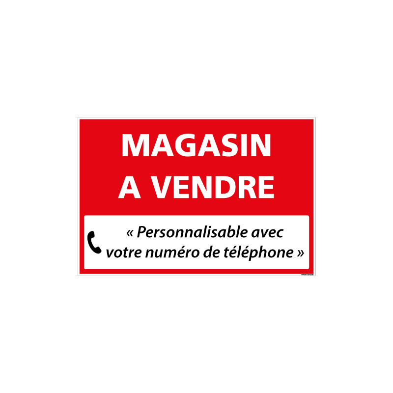 PANNEAU IMMOBILIER MAGASIN A VENDRE A PERSONNALISER AKYLUX 3,5mm - 600x400mm (G1351_PERSO)