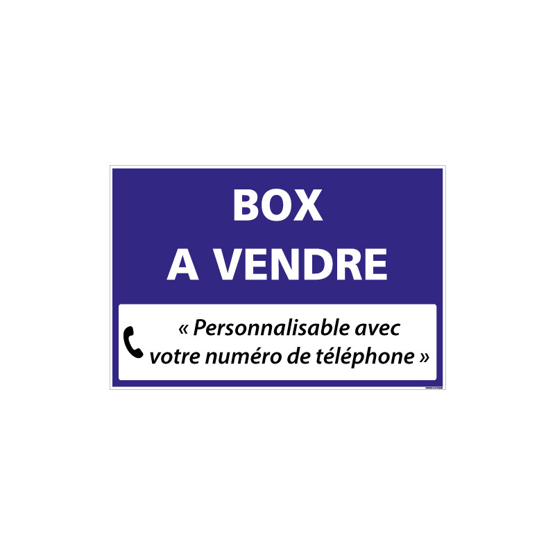 PANNEAU IMMOBILIER BOX A VENDRE A PERSONNALISER AKYLUX 3,5mm - 600x400mm (G1355_PERSO)