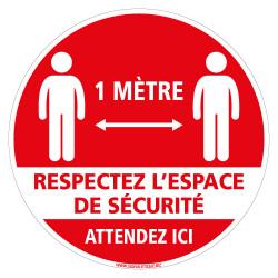MARQUAGE AU SOL COVID 19 CORONAVIRUS - MERCI D'ATTENDRE ICI AFIN DE RESPECTER L'ESPACE DE SECURITE