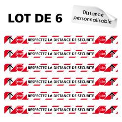 AUTOCOLLANT COVID 19 - LOT DE 6 AUTOCOLLANT SOL AVEC COLLE FORTE - RESPECTEZ LA DISTANCE DE SECURITE - DISTANCES PERSONNALISABLE