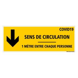 SIGNALETIQUE AU SOL COVID CORONAVIRUS - SENS DE CIRCULATION - DISTANCES ENTRE CHAQUE PERSONNE - SIGNALETIQUE AU SOL DE PREVENTIO