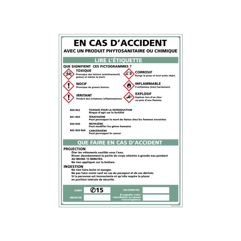 Consignes de sécurité en cas d'accident avec produit chimique (A0370)
