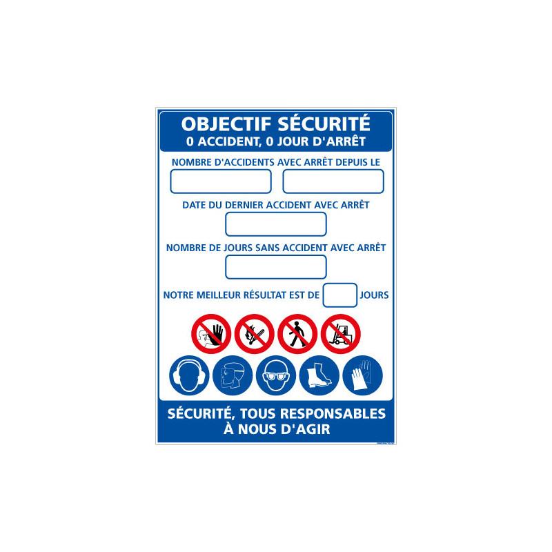 PANNEAU OBJECTIF SECURITE AVEC LAMINATION EFFACABLE (A0618)