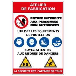 Panneau Consigne de Sécurité ATELIER DE FABRICATION (D0924)
