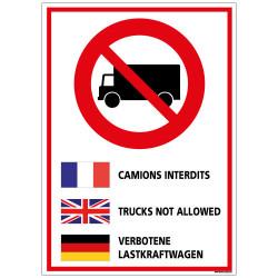 Panneau Consignes de Sécurité CAMIONS INTERDIT (D0937)