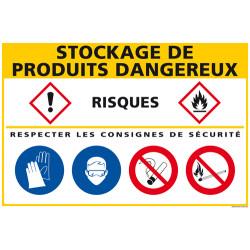 Panneau de signalisation Stockage produits dangereux (C1276)