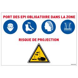 Panneau Port des EPI obligatoire Risque de projection (E0638)