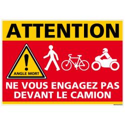 ADHESIF DANGER ANGLES MORTS - NE VOUS ENGAGEZ PAS DEVANT LE CAMION (M0377)