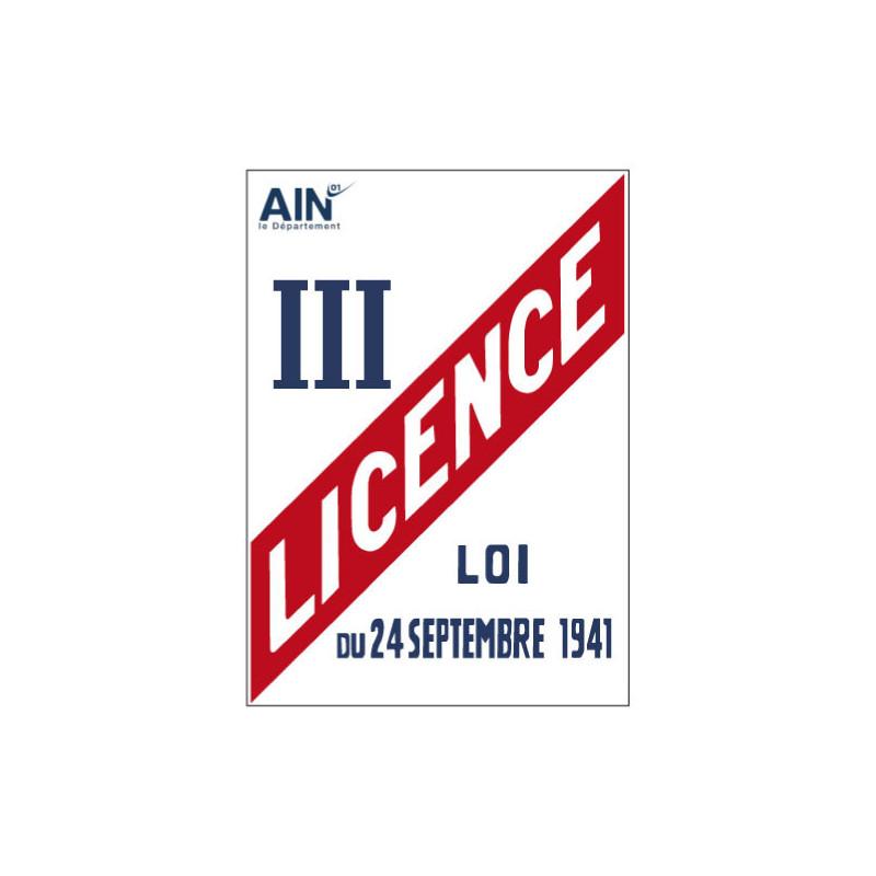 PANNEAU LICENCE III AVEC LE LOGO DE VOTRE DÉPARTEMENT (G0869_DEP)