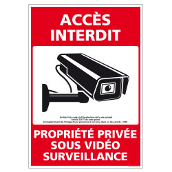 PANNEAU ACCES INTERDIT PROPRIETE PRIVEE SOUS VIDEO SURVEILLANCE (G1534)