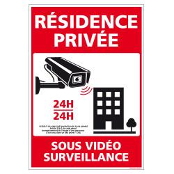 PANNEAU RESIDENCE PRIVEE SOUS VIDEO SURVEILLANCE 24H/24 (G1535)