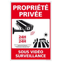 PANNEAU PROPRIETE PRIVEE SOUS VIDEO SURVEILLANCE 24H/24 (G1536)