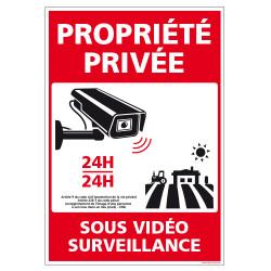 PANNEAU PROPRIETE PRIVEE SOUS VIDEO SURVEILLANCE 24H/24 (G1537)