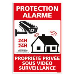 PANNEAU PROTECTION ALARME 24H/24 - PROPRIETE PRIVEE SOUS VIDEO SURVEILLANCE (G1538)