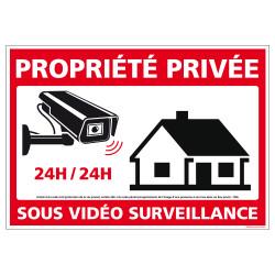PANNEAU PROPRIETE PRIVEE SOUS VIDEO SURVEILLANCE 24H/24 (G1540)