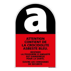 PANNEAU ATTENTION CONTIENT DE LA CROCIDOLITE ASBESTE BLEU (C0778)