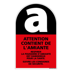 PANNEAU ATTENTION CONTIENT DE L'AMIANTE (C0779)
