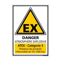 Panneau de Signalisation ATMOSPHERE EXPLOSIVE CATEGORIE 3 (C1044)