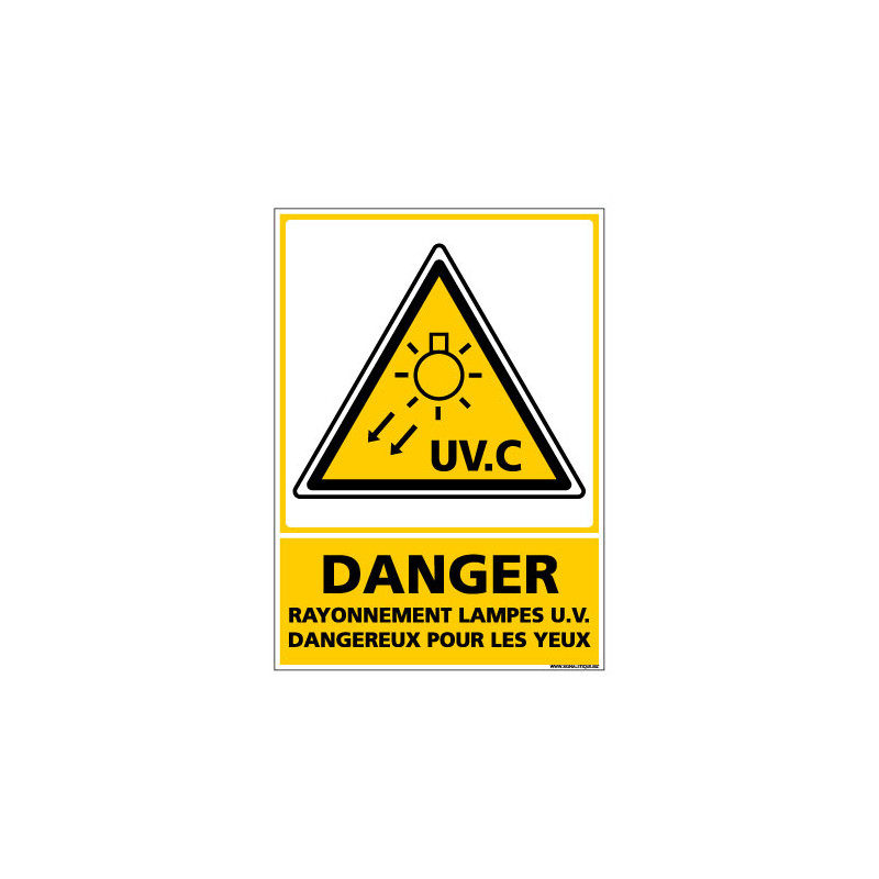 Panneau de Signalisation DANGER RAYONNEMENT LAMPES UV (C1056)