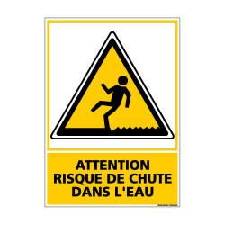 Panneau de Signalisation ATTENTION RISQUE DE CHUTE DANS L'EAU (C1057)